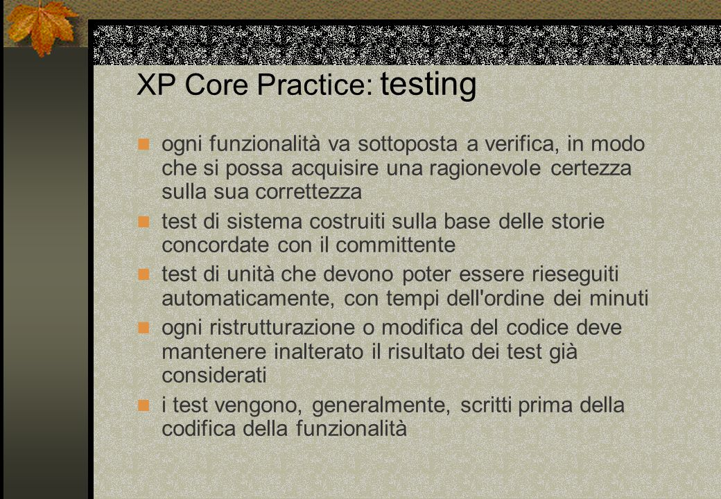 XP Core Practice: testing