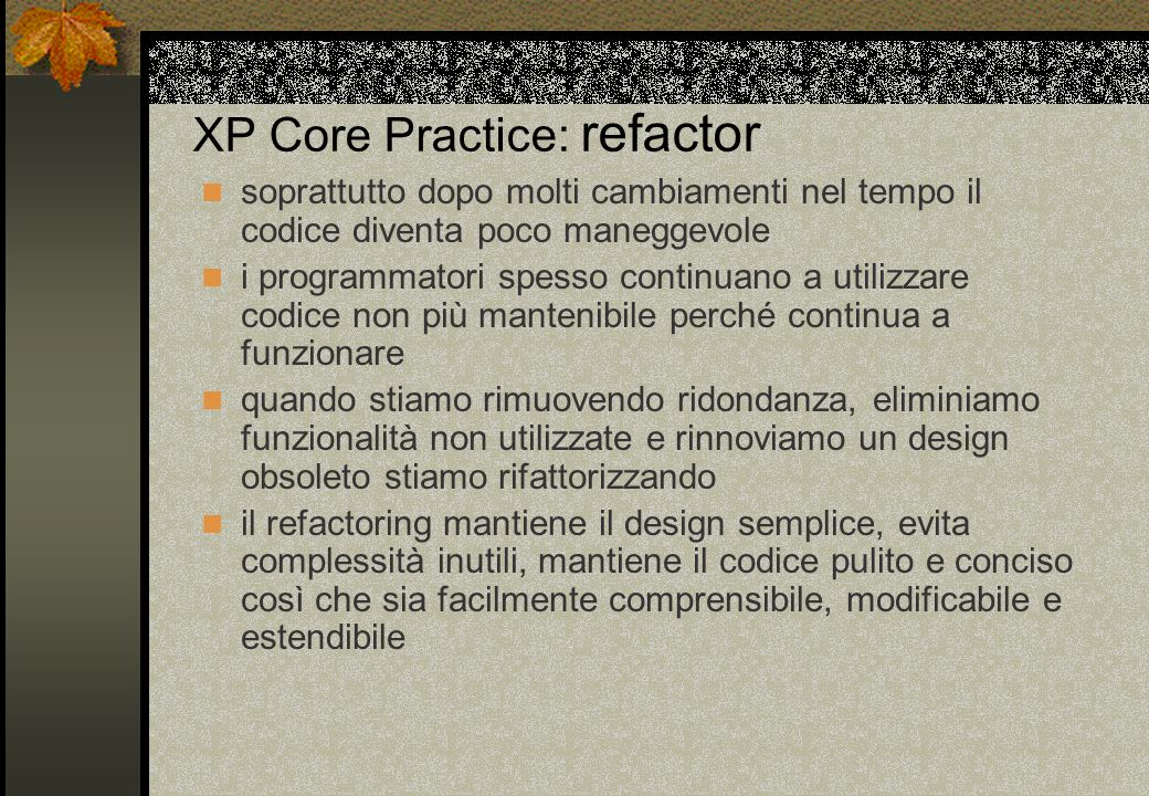 XP Core Practice: refactor
