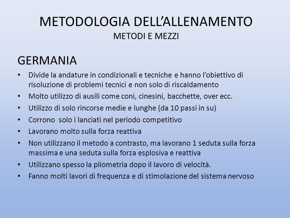 METODOLOGIA DELL'ALLENAMENTO METODI E MEZZI