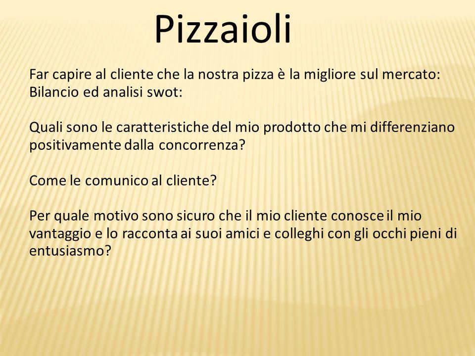 Pizzaioli Far capire al cliente che la nostra pizza è la migliore sul mercato: Bilancio ed analisi swot: