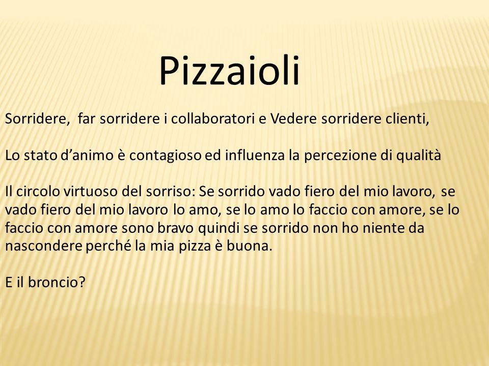 Pizzaioli Sorridere, far sorridere i collaboratori e Vedere sorridere clienti, Lo stato d'animo è contagioso ed influenza la percezione di qualità.