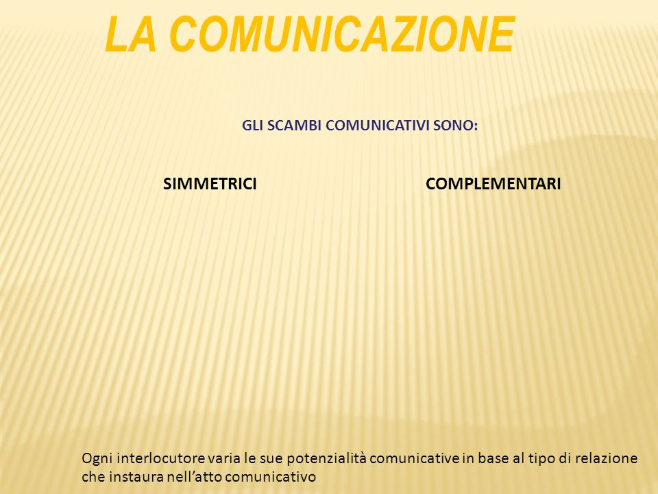 GLI SCAMBI COMUNICATIVI SONO: