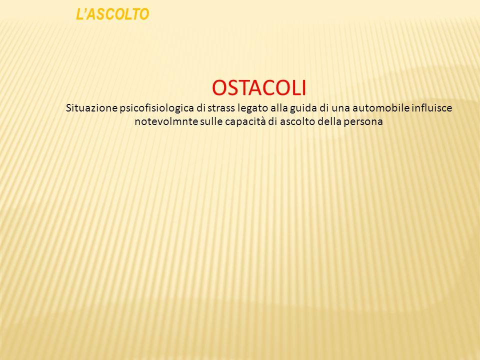 L'ASCOLTO OSTACOLI.