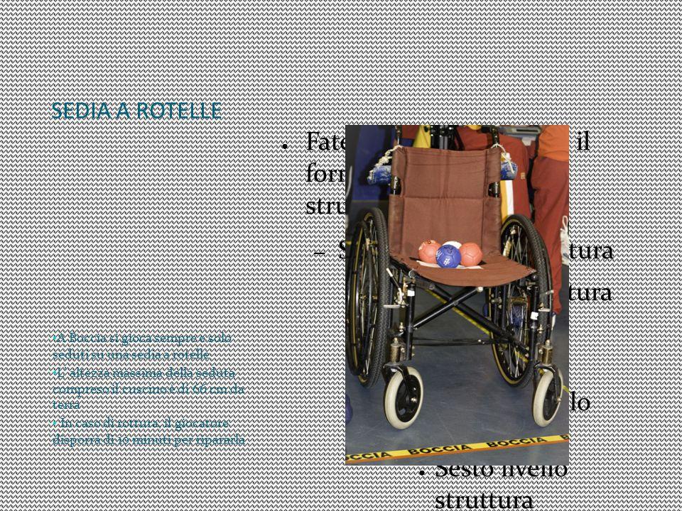 SEDIA A ROTELLE A Boccia si gioca sempre e solo seduti su una sedia a rotelle.