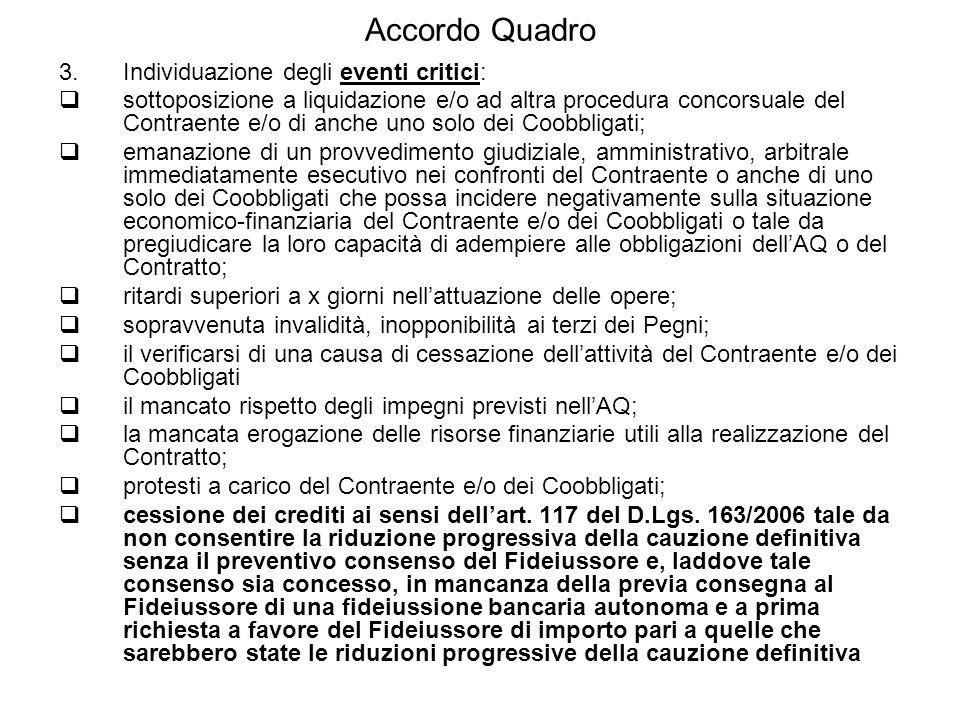 Accordo Quadro Individuazione degli eventi critici:
