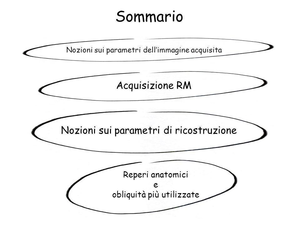 Sommario Acquisizione RM Nozioni sui parametri di ricostruzione