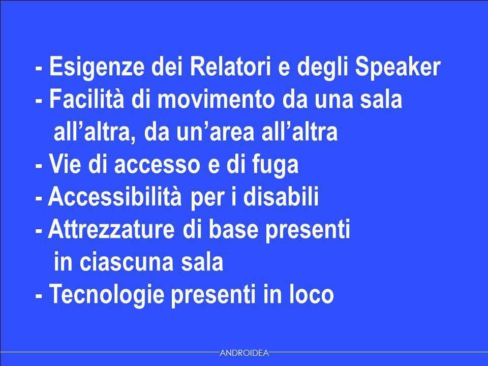 - Esigenze dei Relatori e degli Speaker