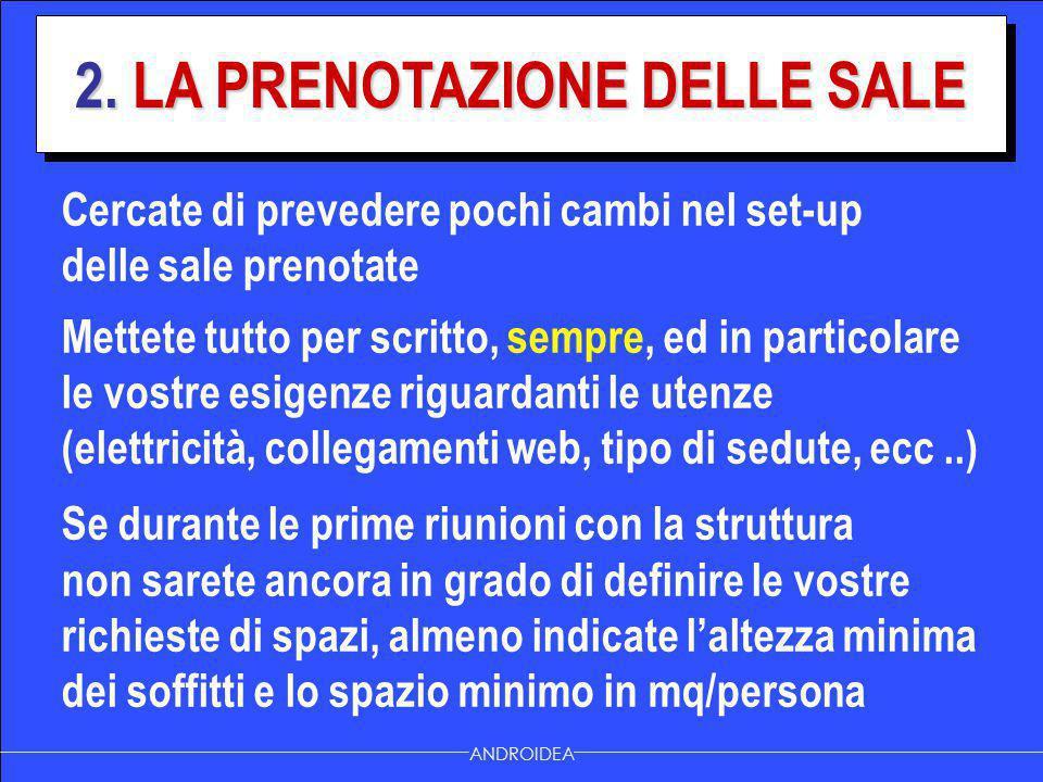 2. LA PRENOTAZIONE DELLE SALE