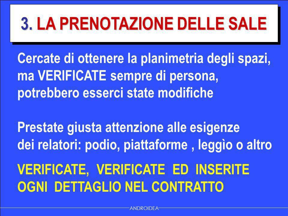 3. LA PRENOTAZIONE DELLE SALE