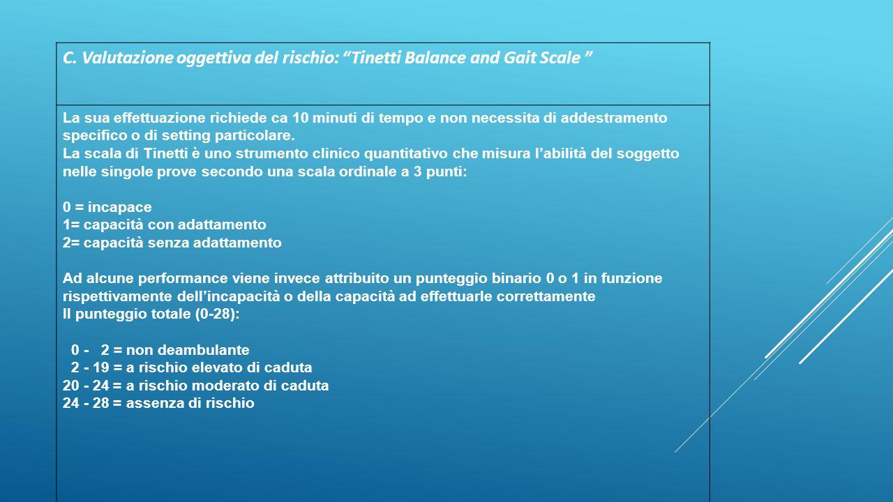 C. Valutazione oggettiva del rischio: Tinetti Balance and Gait Scale