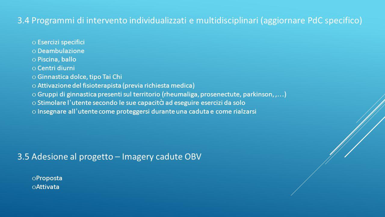 3.5 Adesione al progetto – Imagery cadute OBV