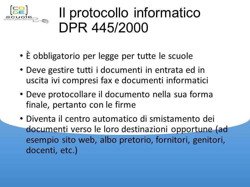Il protocollo informatico DPR 445/2000