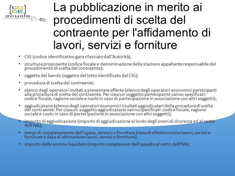 La pubblicazione in merito ai procedimenti di scelta del contraente per l affidamento di lavori, servizi e forniture
