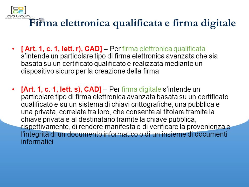 Firma elettronica qualificata e firma digitale