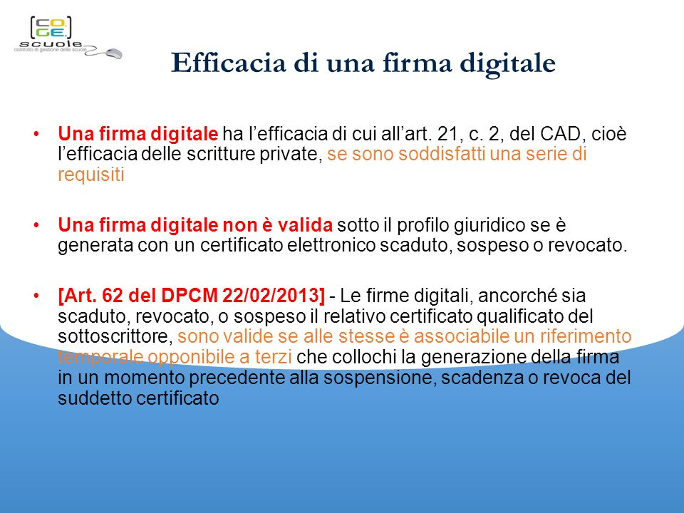 Efficacia di una firma digitale