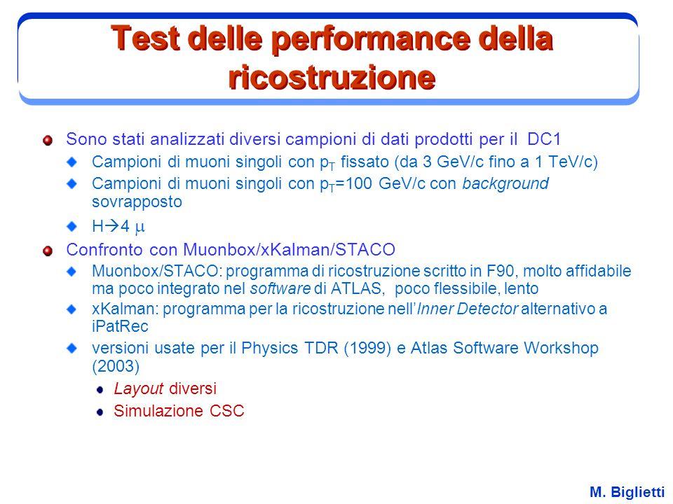 Test delle performance della ricostruzione