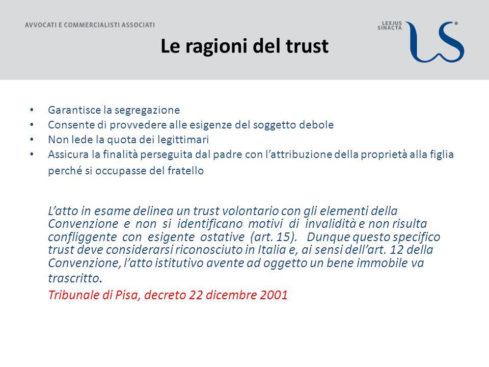 Le ragioni del trust Garantisce la segregazione. Consente di provvedere alle esigenze del soggetto debole.