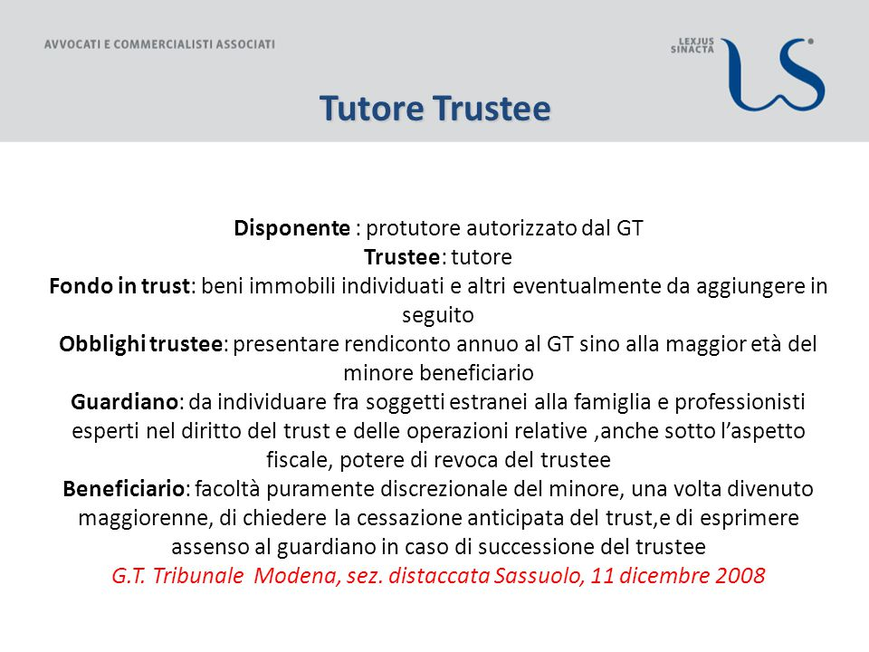 Tutore Trustee