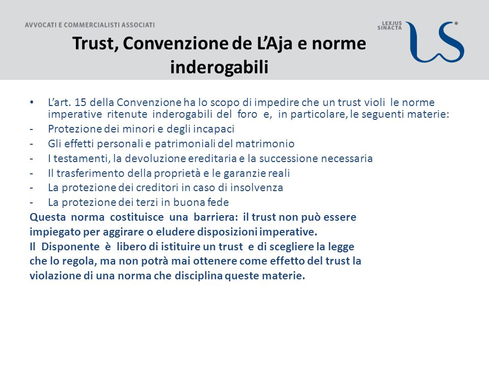 Trust, Convenzione de L'Aja e norme inderogabili