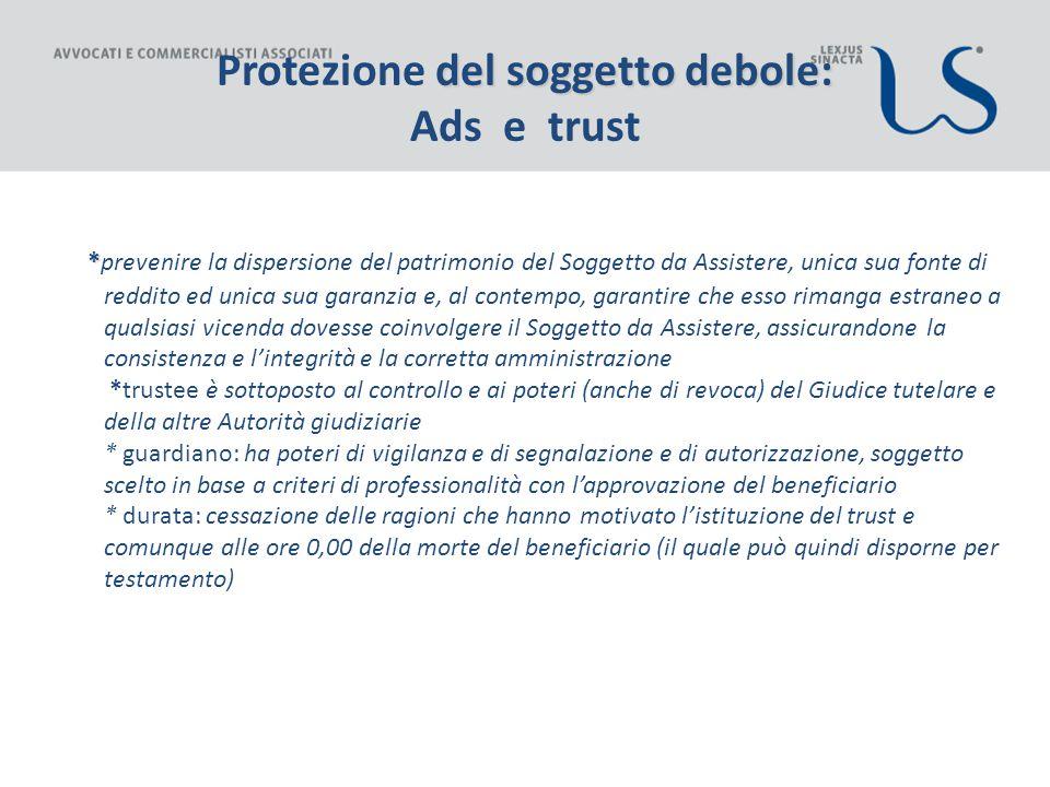Protezione del soggetto debole: Ads e trust