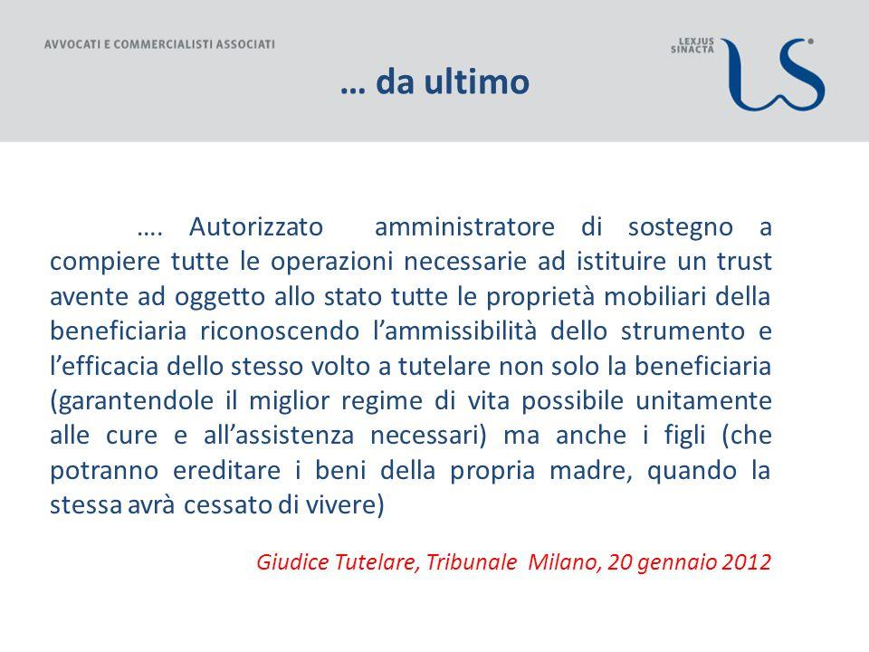 … da ultimo Giudice Tutelare, Tribunale Milano, 20 gennaio 2012