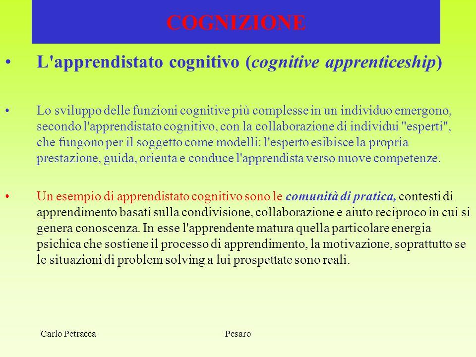 COGNIZIONE L apprendistato cognitivo (cognitive apprenticeship)