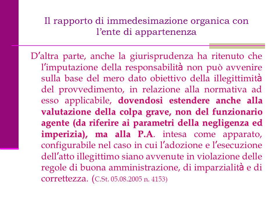 Il rapporto di immedesimazione organica con l'ente di appartenenza