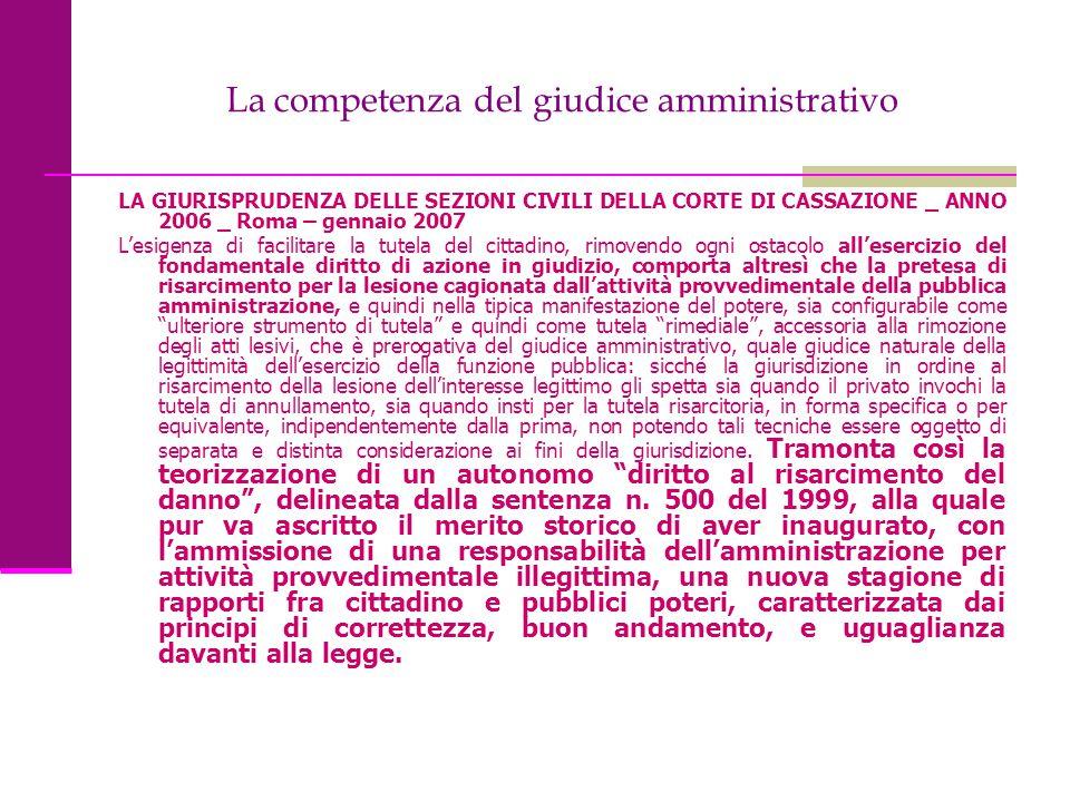 La competenza del giudice amministrativo