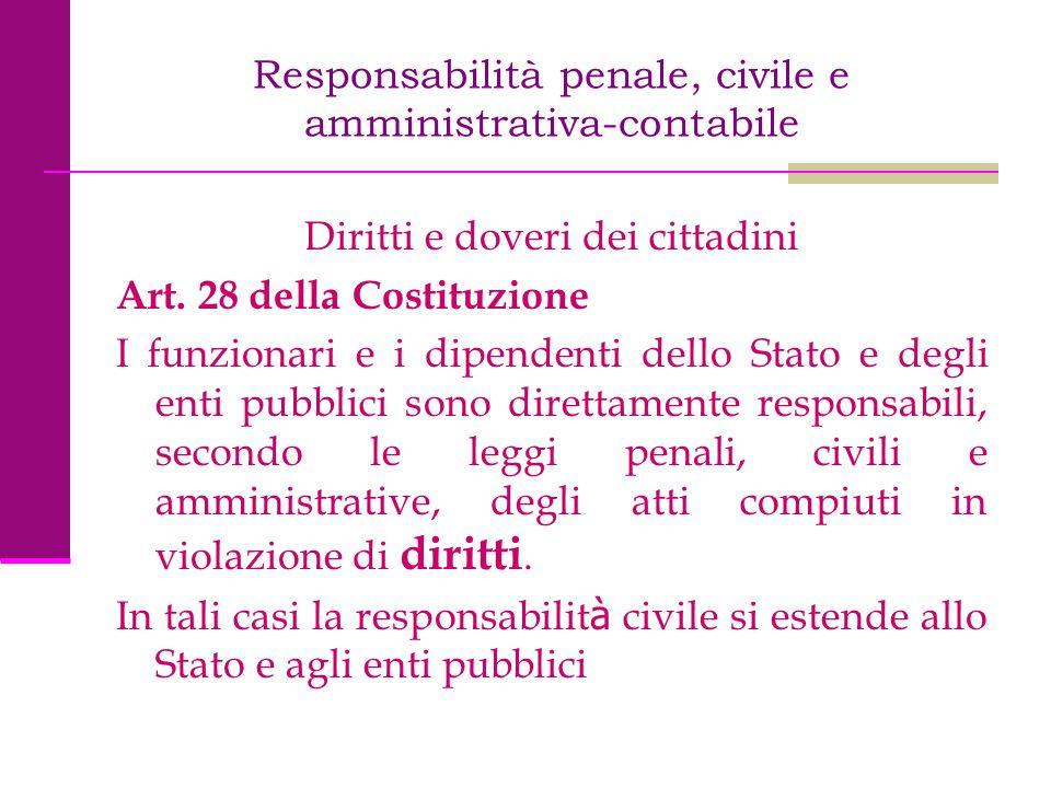 Responsabilità penale, civile e amministrativa-contabile