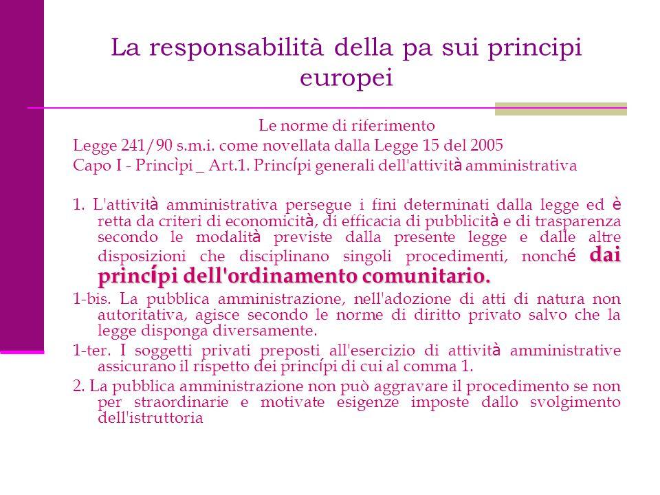 La responsabilità della pa sui principi europei