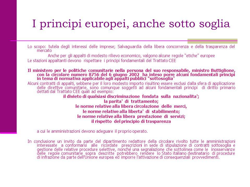 I principi europei, anche sotto soglia