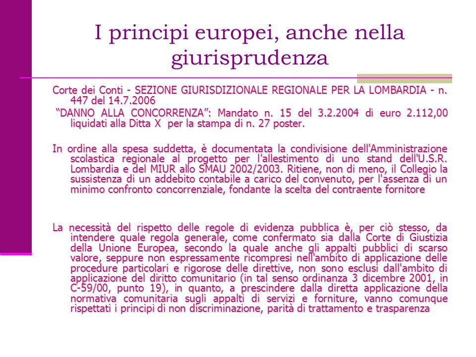 I principi europei, anche nella giurisprudenza