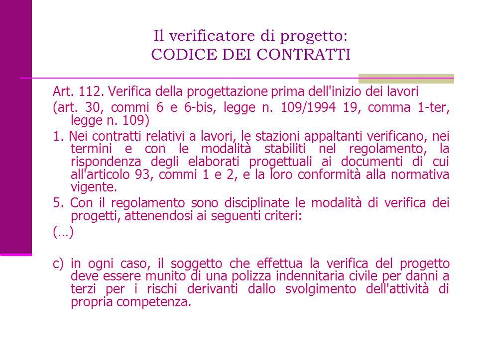 Il verificatore di progetto: CODICE DEI CONTRATTI