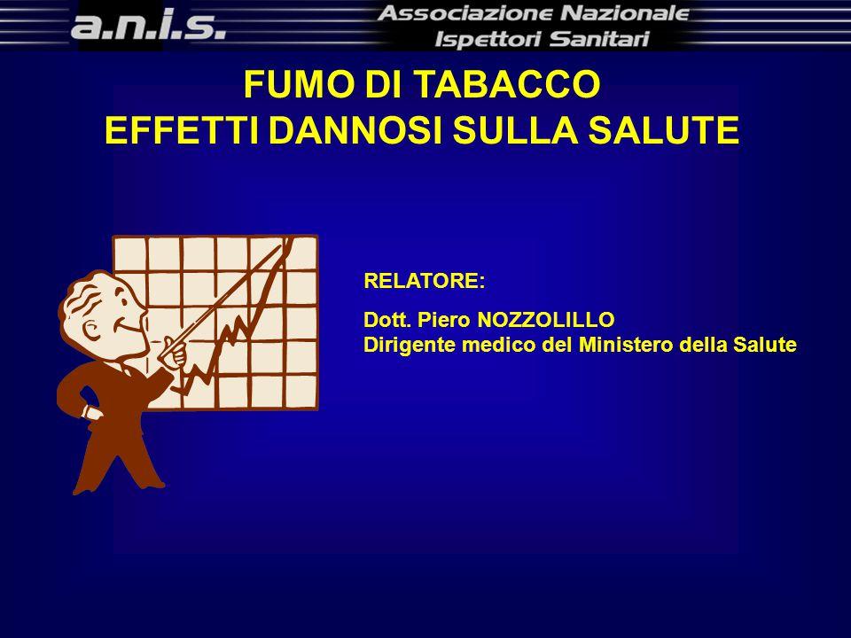 FUMO DI TABACCO EFFETTI DANNOSI SULLA SALUTE