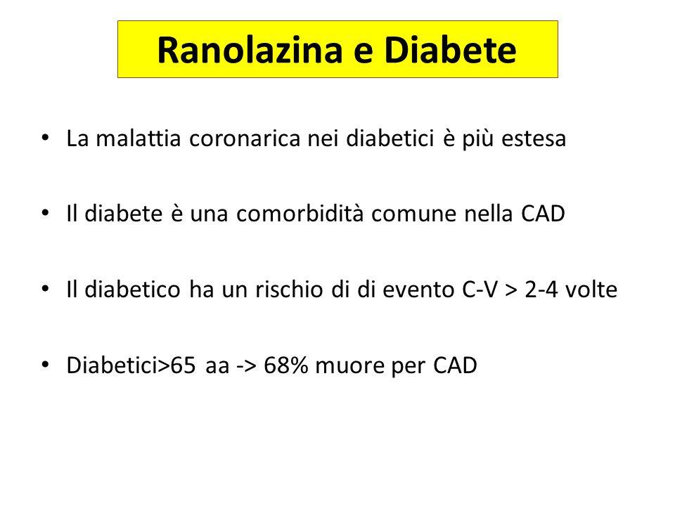 Ranolazina e Diabete La malattia coronarica nei diabetici è più estesa