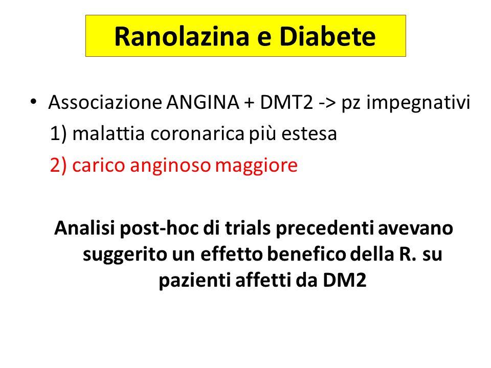 Ranolazina e Diabete Associazione ANGINA + DMT2 -> pz impegnativi