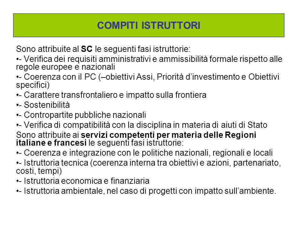 COMPITI ISTRUTTORI Sono attribuite al SC le seguenti fasi istruttorie: