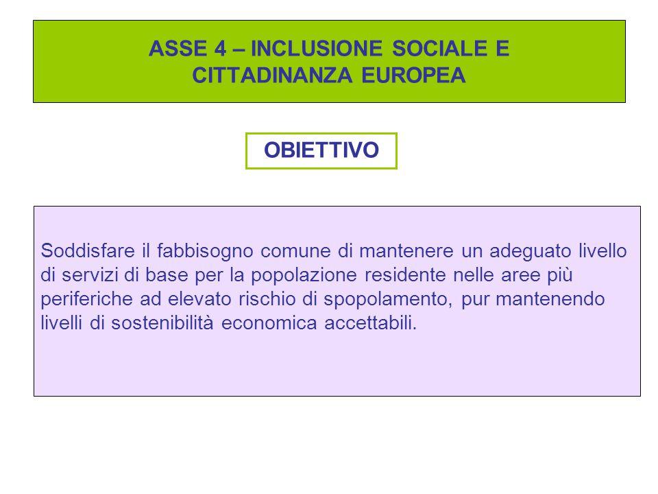 ASSE 4 – INCLUSIONE SOCIALE E CITTADINANZA EUROPEA