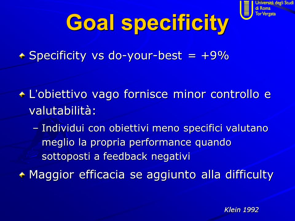 Goal specificity Specificity vs do-your-best = +9%