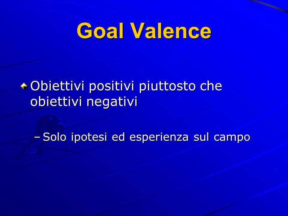 Goal Valence Obiettivi positivi piuttosto che obiettivi negativi