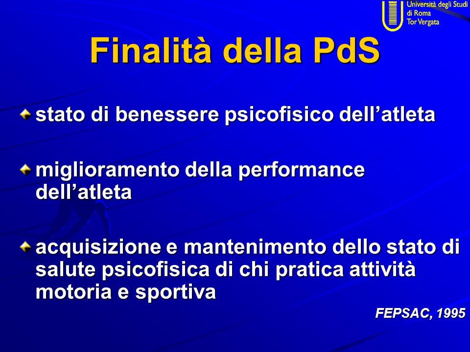 Finalità della PdS stato di benessere psicofisico dell'atleta