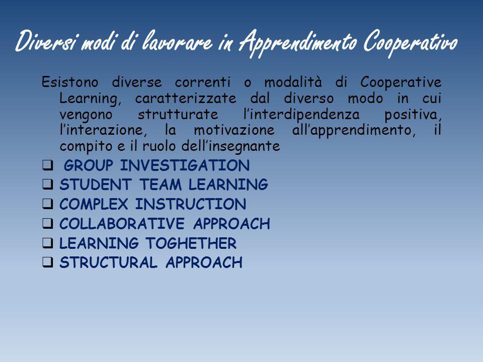 Diversi modi di lavorare in Apprendimento Cooperativo