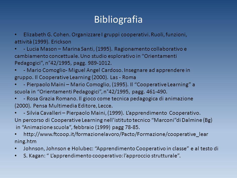 Bibliografia Elizabeth G. Cohen. Organizzare I gruppi cooperativi. Ruoli, funzioni, attività (1999). Erickson.
