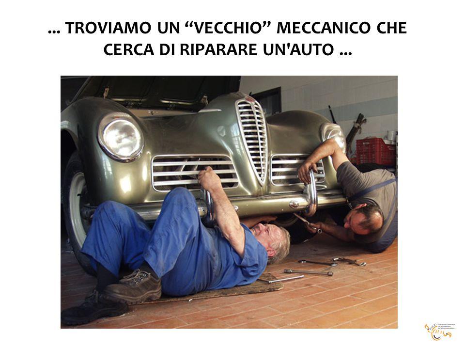 ... TROVIAMO UN VECCHIO MECCANICO CHE CERCA DI RIPARARE UN AUTO ...