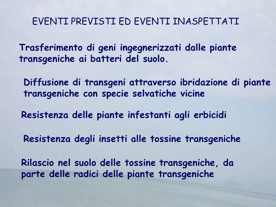 EVENTI PREVISTI ED EVENTI INASPETTATI