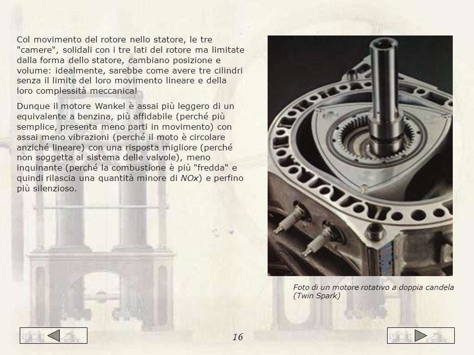 Col movimento del rotore nello statore, le tre camere , solidali con i tre lati del rotore ma limitate dalla forma dello statore, cambiano posizione e volume: idealmente, sarebbe come avere tre cilindri senza il limite del loro movimento lineare e della loro complessità meccanica!