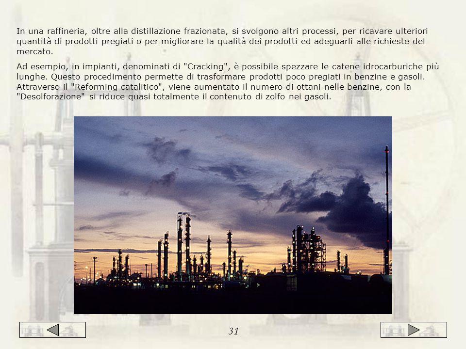 In una raffineria, oltre alla distillazione frazionata, si svolgono altri processi, per ricavare ulteriori quantità di prodotti pregiati o per migliorare la qualità dei prodotti ed adeguarli alle richieste del mercato.