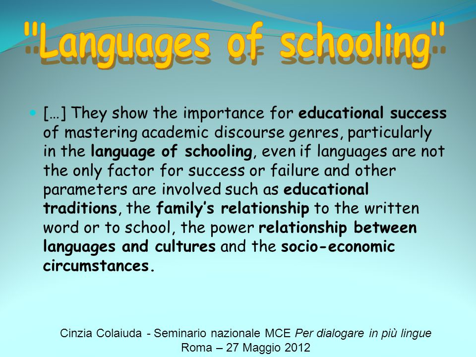 Languages of schooling