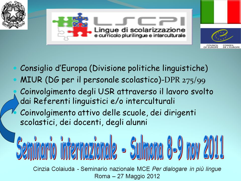 Seminario internazionale - Sulmona 8-9 nov 2011