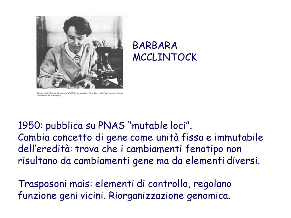 BARBARA MCCLINTOCK 1950: pubblica su PNAS mutable loci .